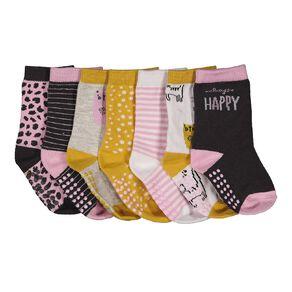 H&H Infant Girls' Crew Socks 7 Pack
