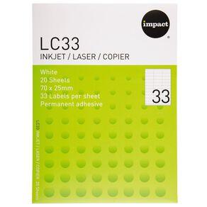 Impact Labels 20 Sheets A4/33 White
