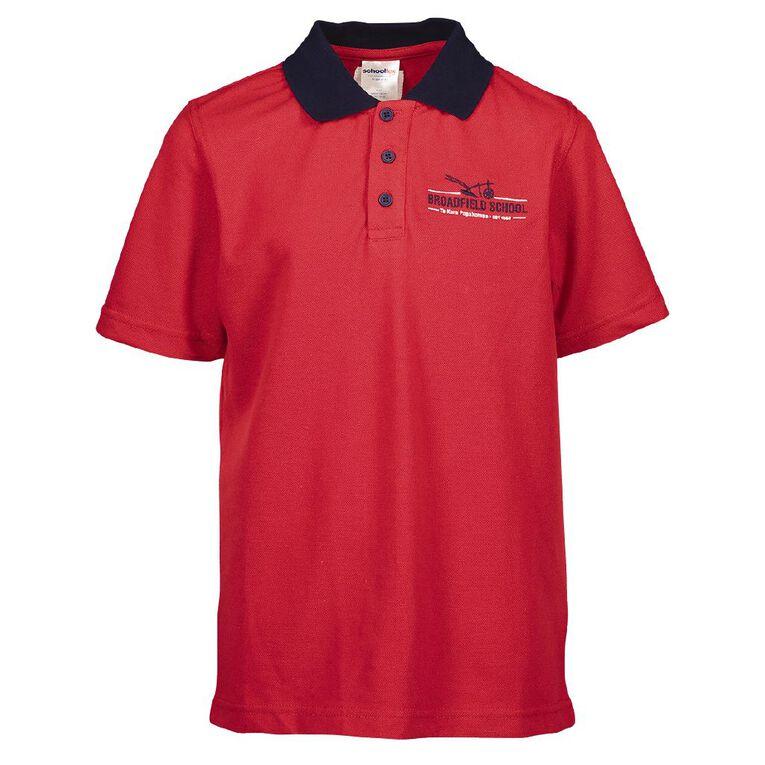 Schooltex Broadfield School Senior Sport Shirt, Red/Navy, hi-res