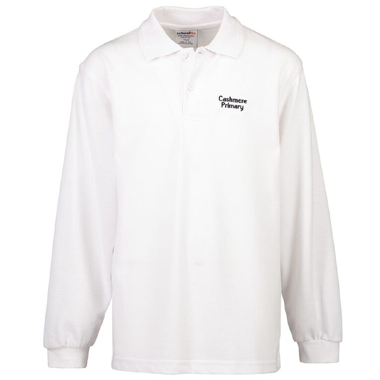Schooltex Cashmere Primary School Long Sleeve Polo with Embroidery, White, hi-res