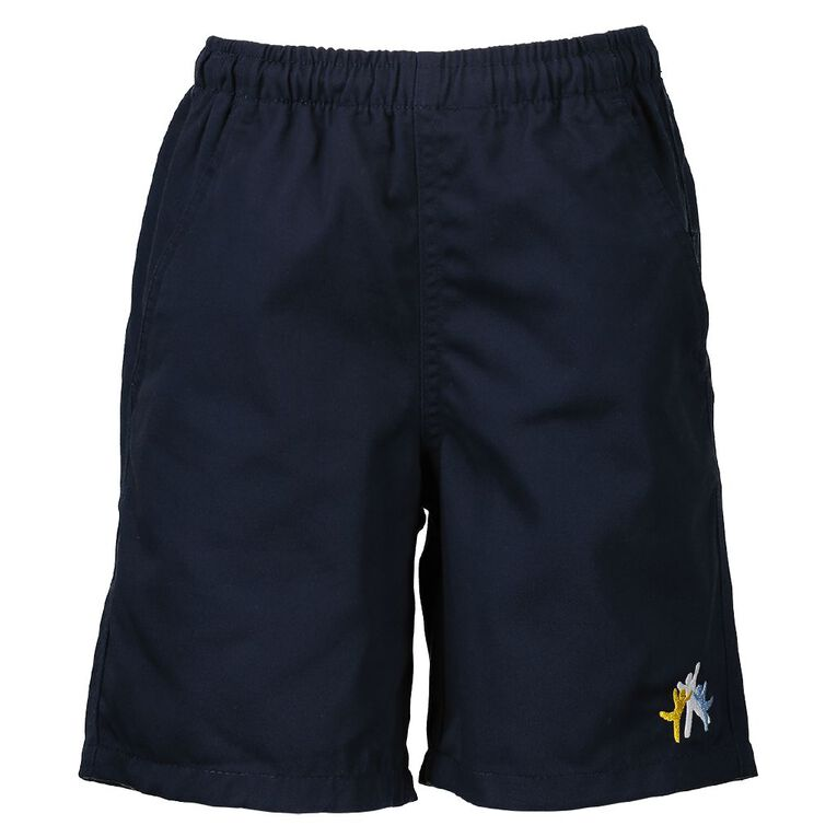 Schooltex Dominion Road Drill Rugger Shorts with Embroidery, Navy, hi-res