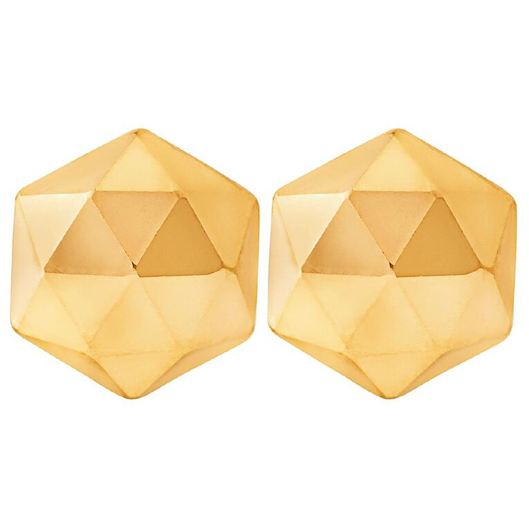 9ct Gold Faceted Stud Earrings, , hi-res