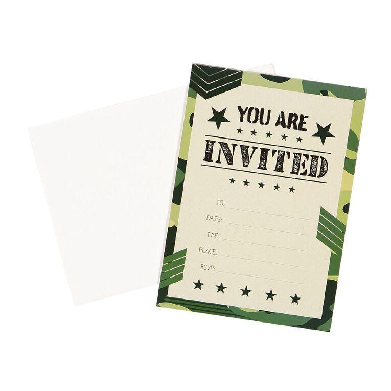 Party Inc Camo Invitations with Envelopes 17.5cm x 12.5cm 8 Pack, , hi-res
