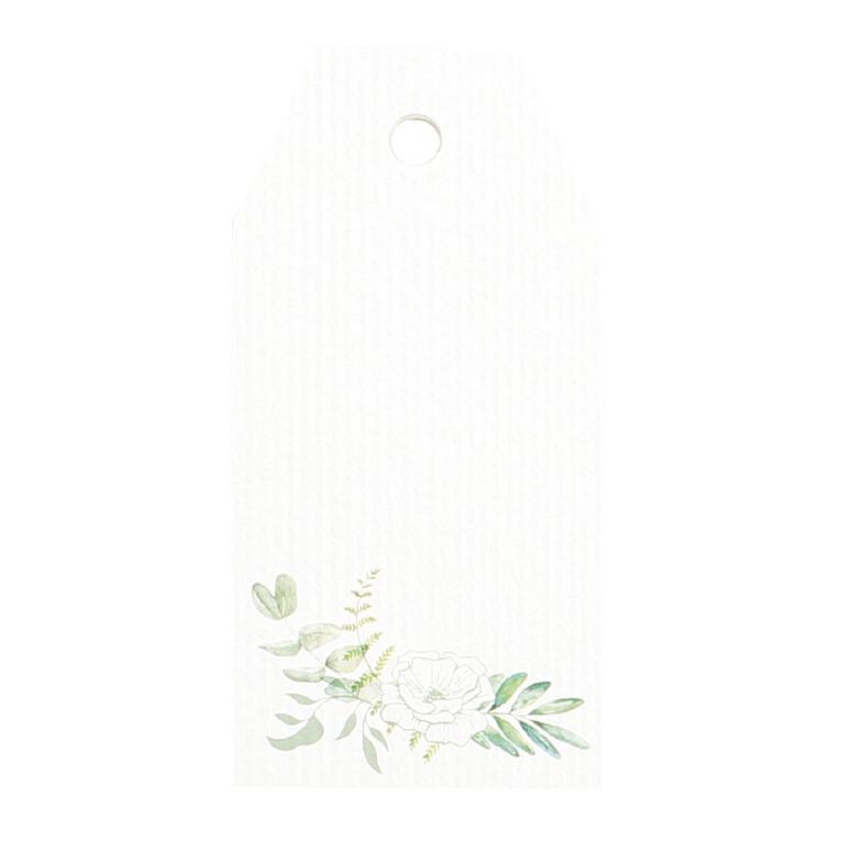 Party Inc Leaf Gift Tags 8cm x 4cm White 8 Pack, , hi-res