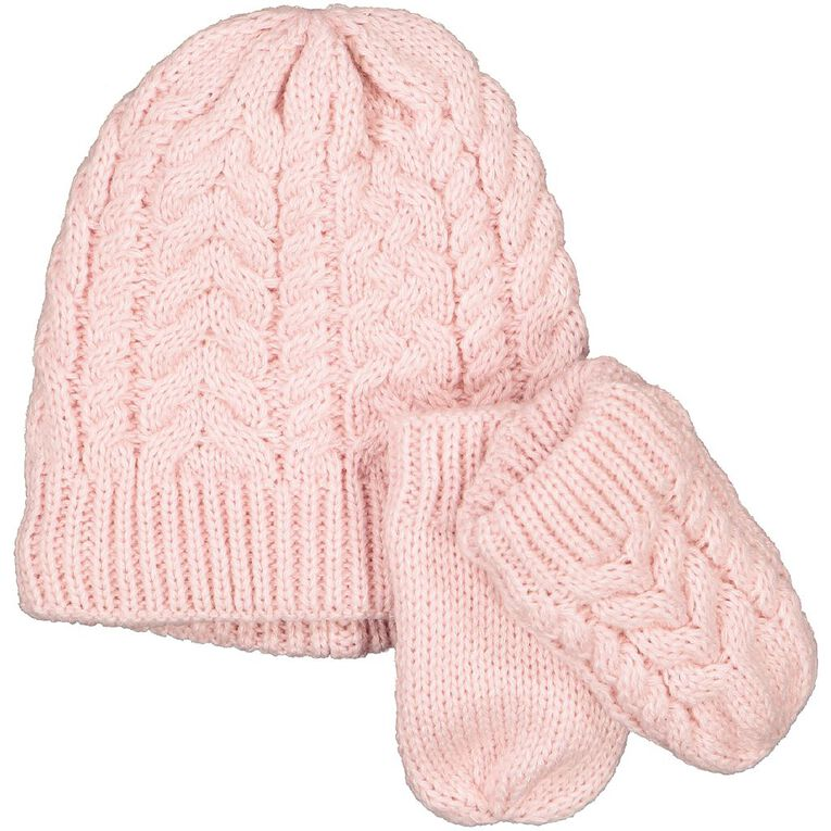 Young Original Infants' Beanie Mitten Set, Pink, hi-res
