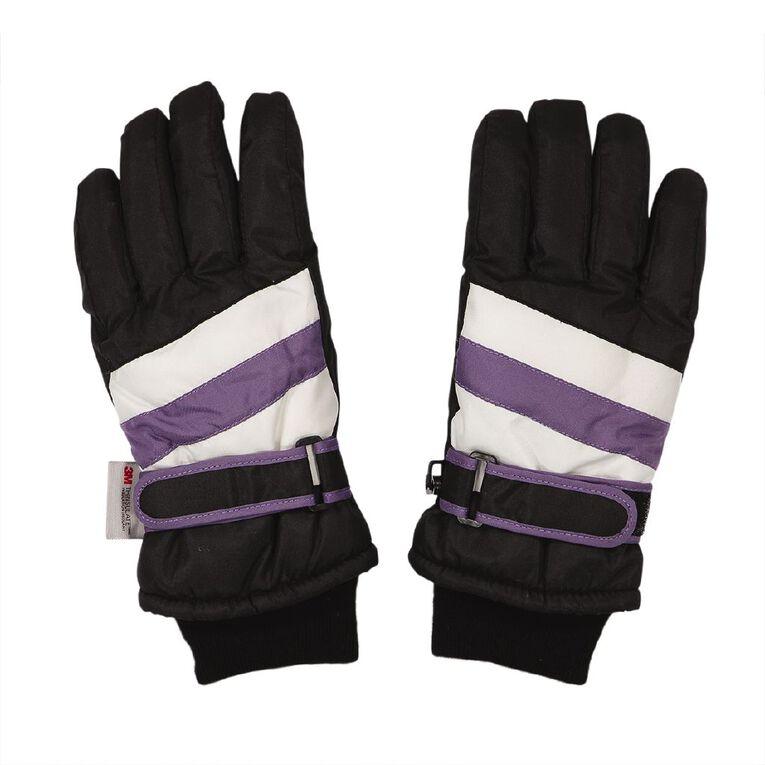 H&H Kids' Ski Gloves, Black, hi-res
