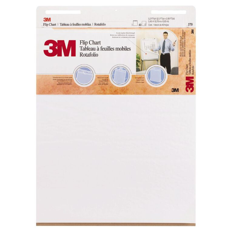 3M Flipchart 635 x 762mm 40 Sheet White, , hi-res image number null