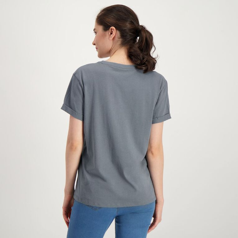 H&H Women's Printed Cuff Detail Tee, Grey Dark, hi-res