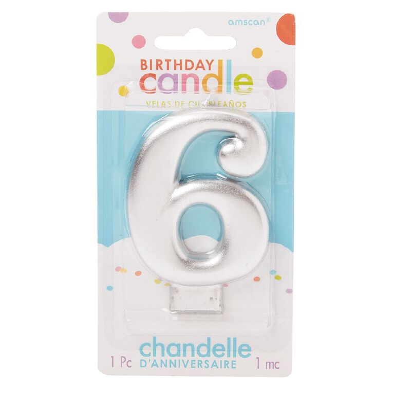 Candle Metallic Numeral #6 Silver, , hi-res