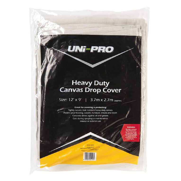 Unipro Heavy Duty Canvas Drop Sheet 3.7m x 2.7m, , hi-res