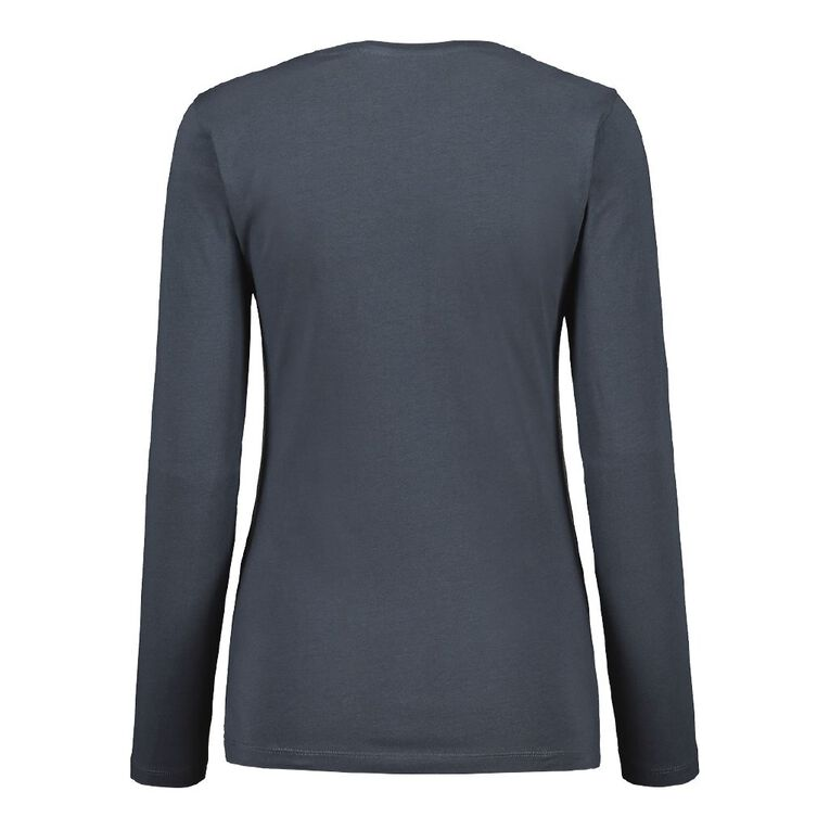 H&H Women's Long Sleeve V Neck, Blue Dark, hi-res