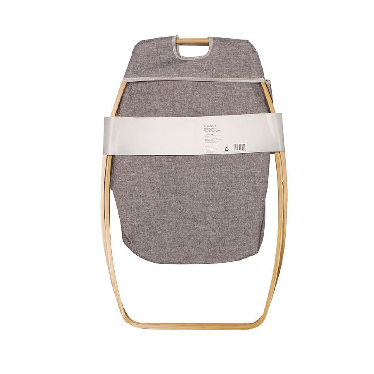 Living & Co Collapsible Hamper with Bamboo Frame Natural, , hi-res