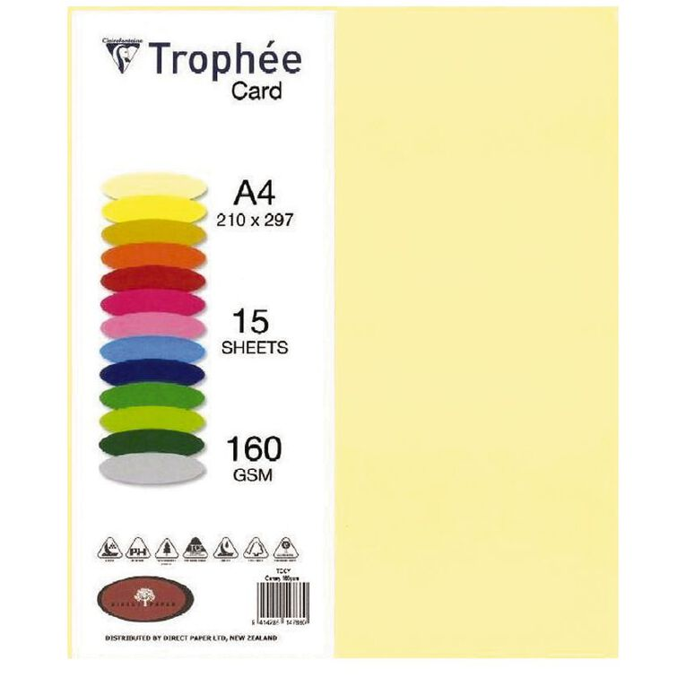 Trophee Card 160gsm 15 Pack Canary Yellow A4, , hi-res