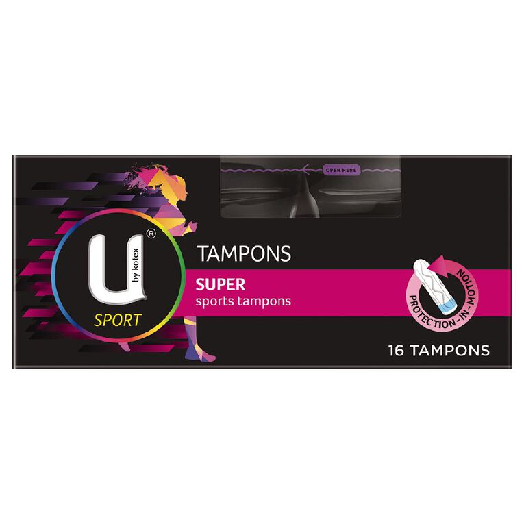 U By Kotex Tampons Sport Super 16 Pack, , hi-res