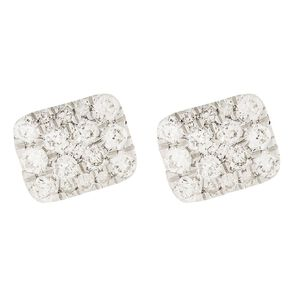 0.50 Carat Diamond 9ct Gold Cushion Halo Stud Earrings