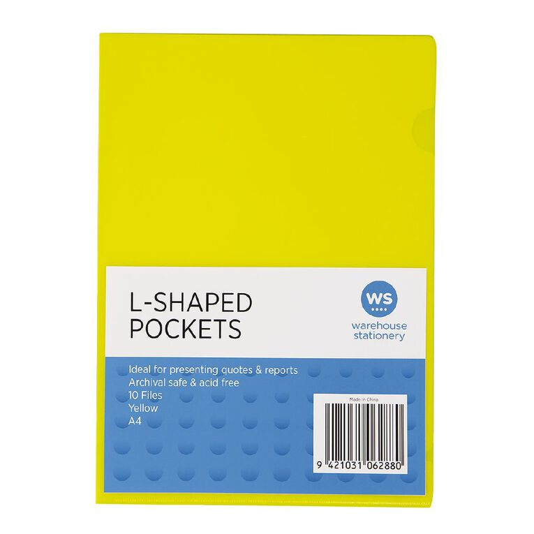 WS L-Shaped Pockets 10 Pack Yellow A4, , hi-res