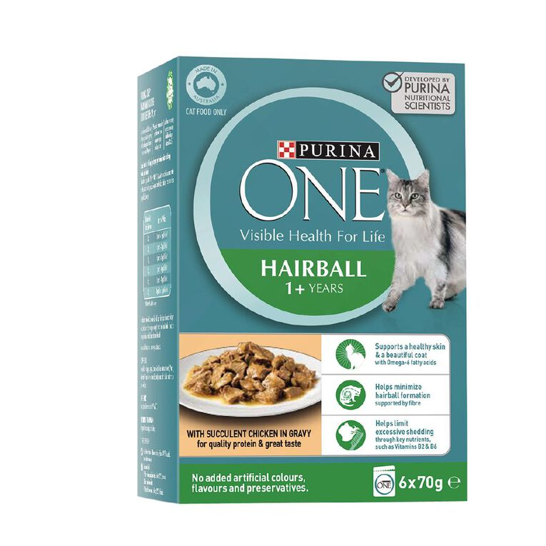 Purina ONE Cat Hairball Control Formula with Chicken MP (6x70g), , hi-res