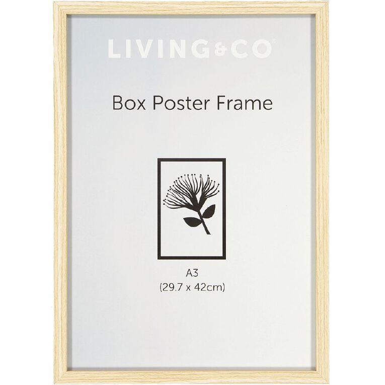 Living & Co Frame Box Poster Oak Wood Brown A3, Brown, hi-res