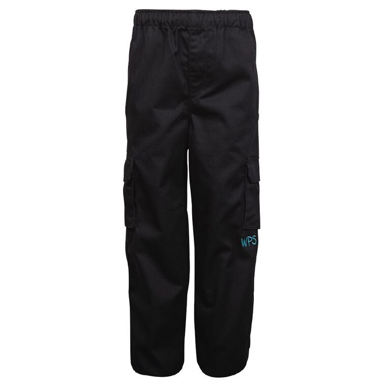 Schooltex Waipu Drill Cargo Pants with Embroidery, Black, hi-res