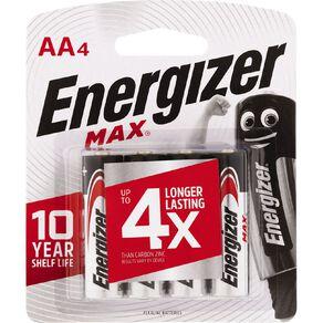 Energizer Max Alkaline Batteries AA 4 Pack