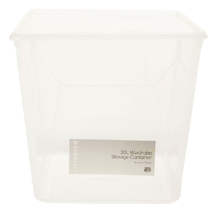 Living & Co Wardrobe Storage Clear 30L, , hi-res