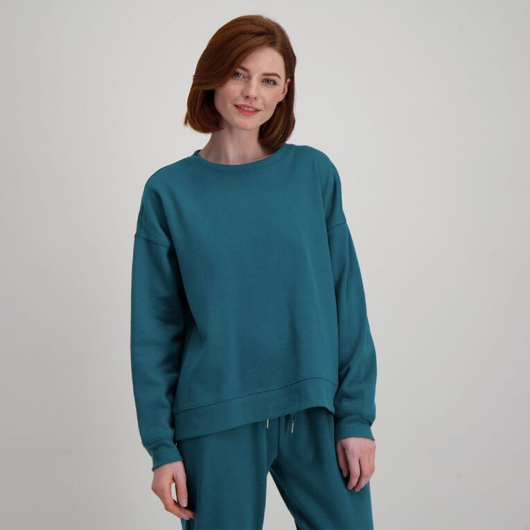 H&H Women's Crew Neck Sweat, Green Dark, hi-res