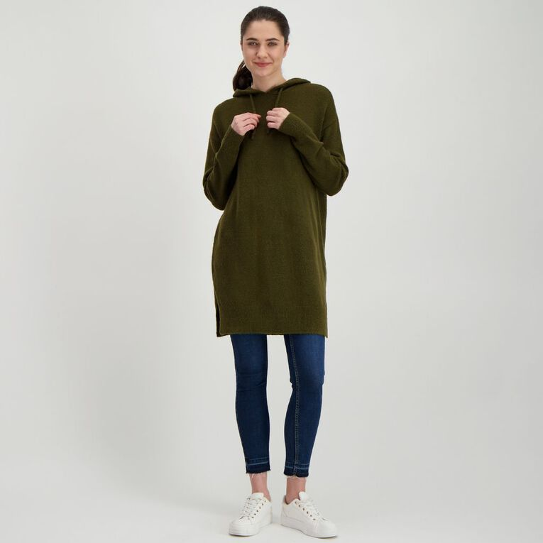 H&H Women's Longline Knit Hoodie, Green Mid, hi-res