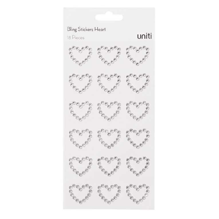 Uniti Bling Stickers Hearts 18 Pack Silver, , hi-res