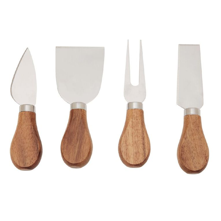 Living & Co Cheese Knives Wooden 4 Piece, , hi-res