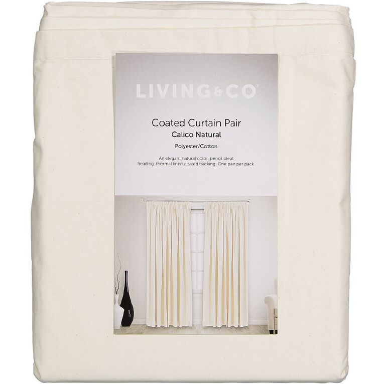 Living & Co Calico Curtains Natural 230-330cm Wide/220cm Drop, Natural, hi-res image number null