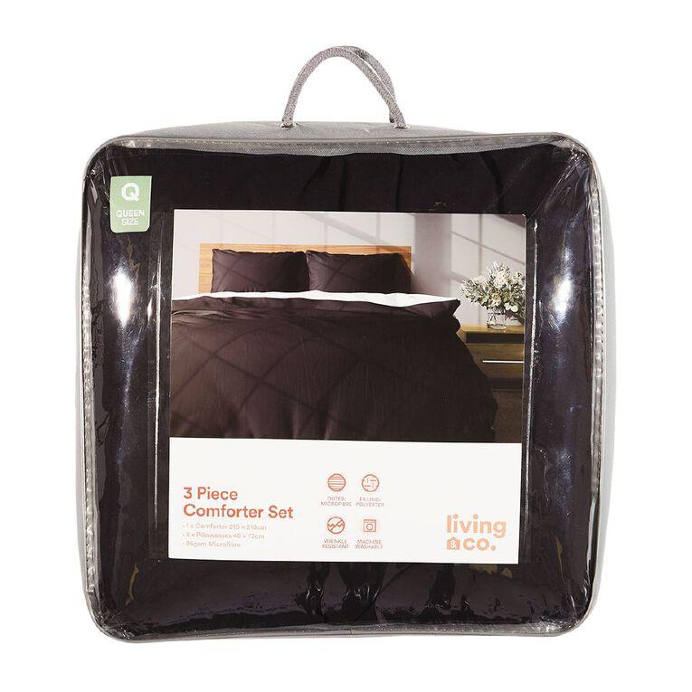 Living & Co Microfibre Comforter Set Black/White Queen, Black/White, hi-res