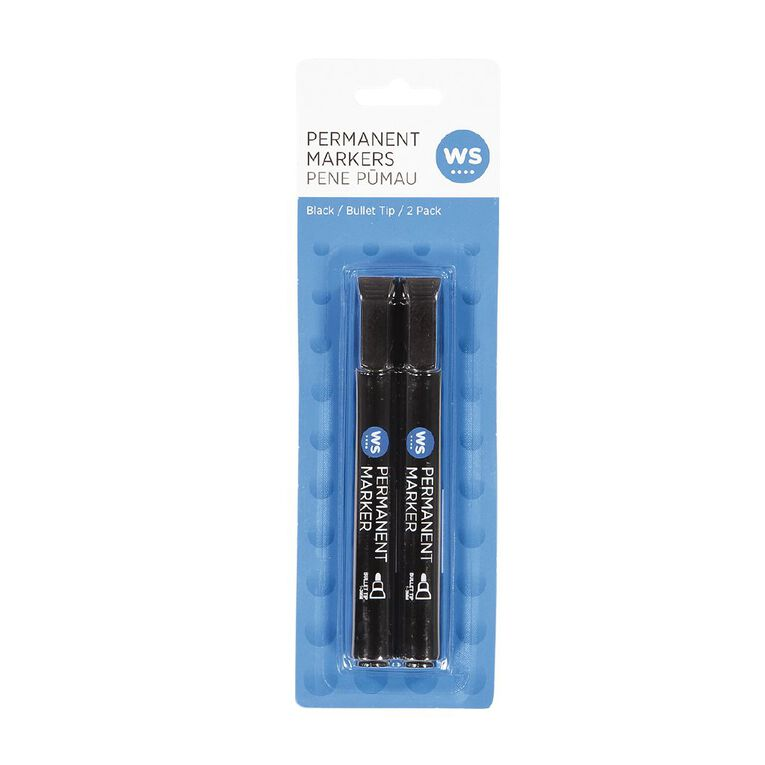 WS Permanent Marker Bullet Black 2 Pack, , hi-res