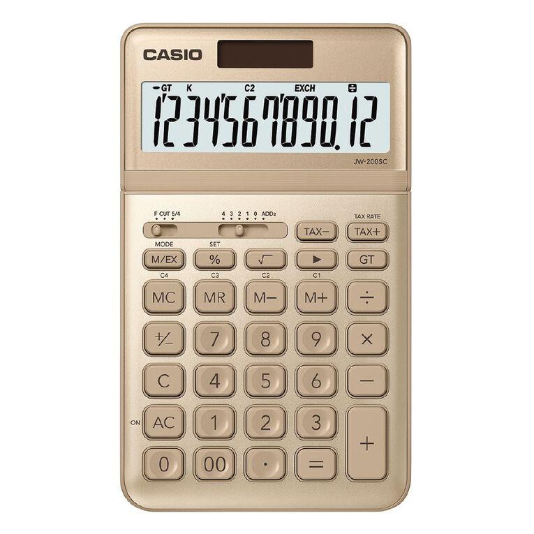 Casio JW200SCGD Desktop 12 Digit Calculator Stylish Gold, , hi-res