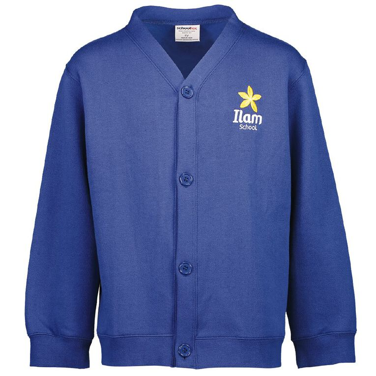 Schooltex Ilam Cardigan Sweatshirt with Embroidery, Royal, hi-res