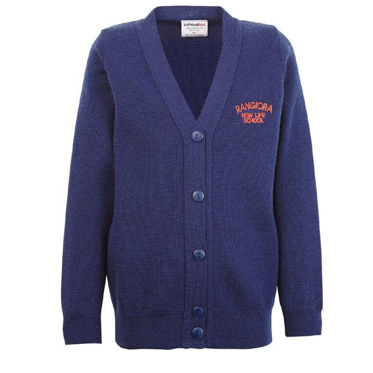Schooltex Rangiora New Life Cardigan with Embroidery, Dark Royal, hi-res