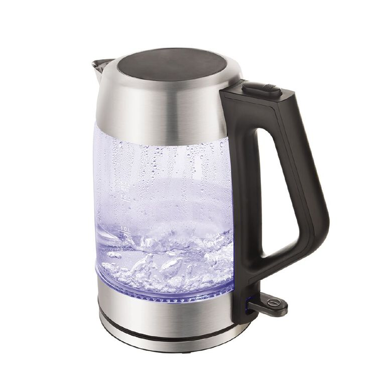 Living & Co Glass Kettle With Stainless Steel Trim, , hi-res