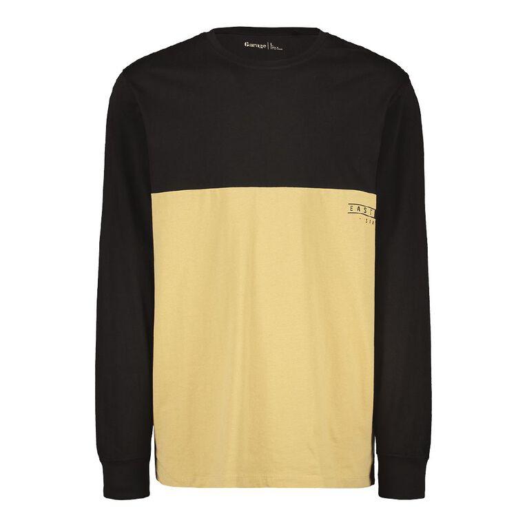 Garage Men's Long Sleeve Spliced Panel Tee, Black, hi-res