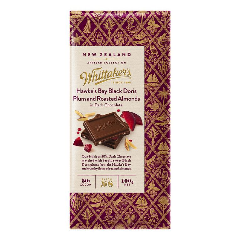 Whittaker's Hawkes Bay Plum and Roasted Almond Dark 100g, , hi-res
