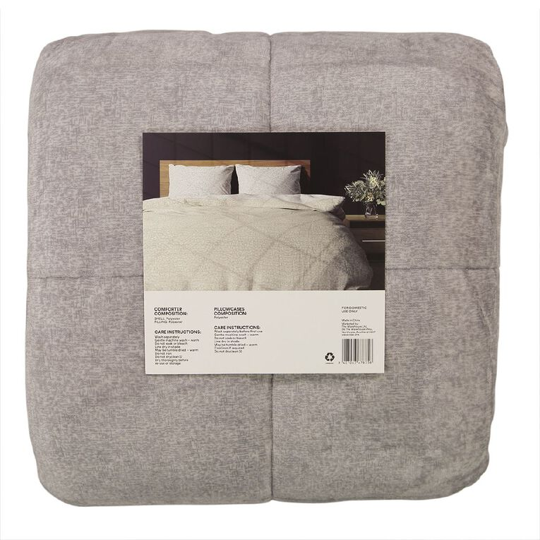 Living & Co Comforter Set Plush Sherpa Reverse Blizzard Charcoal Queen, Charcoal, hi-res image number null