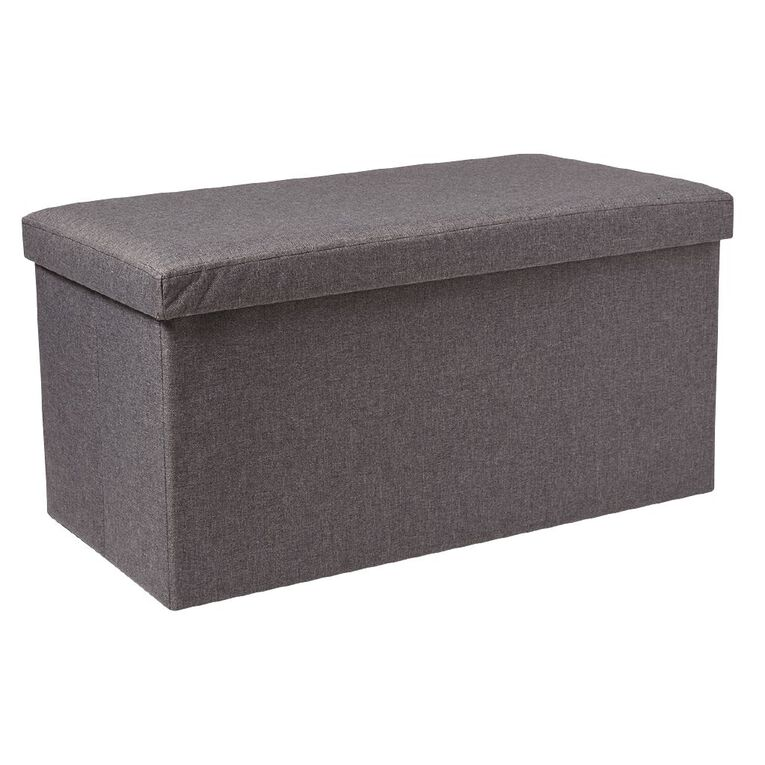 Living & Co Folding Storage Ottoman Grey Dark Double, , hi-res