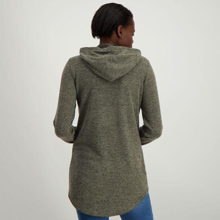 H&H Brushed Knit Hooded Top, Khaki, hi-res