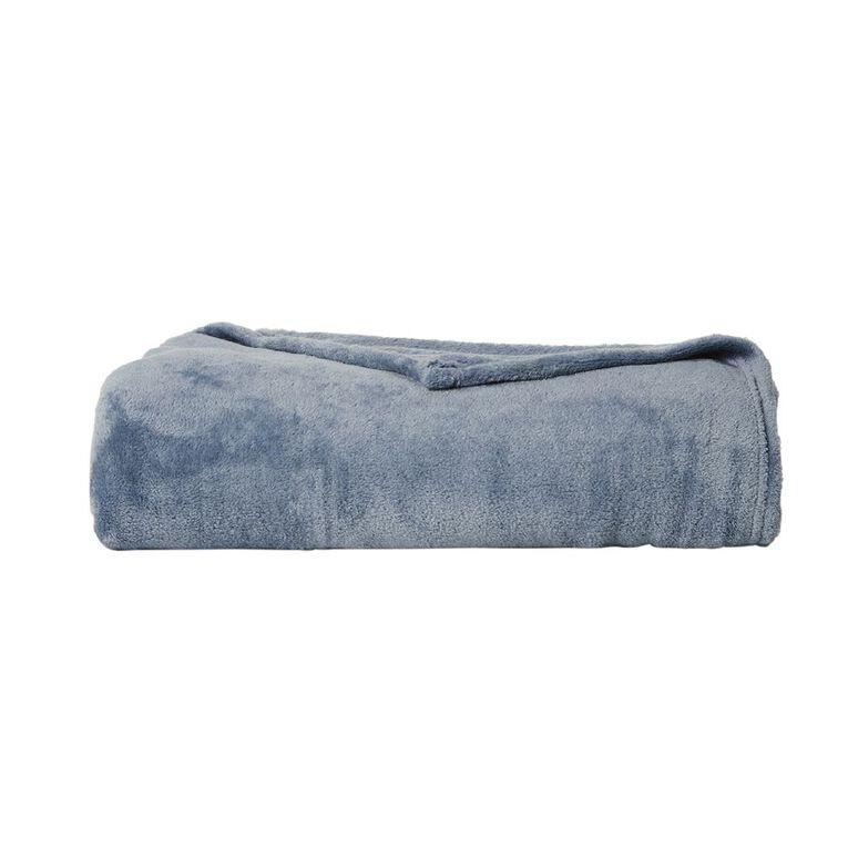 Living & Co Blanket Plush Mirage Blue Queen, , hi-res