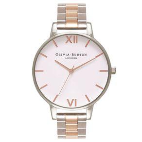 Olivia Burton Ladies Big Dial Bracelet Watch Silver & Rose Gold