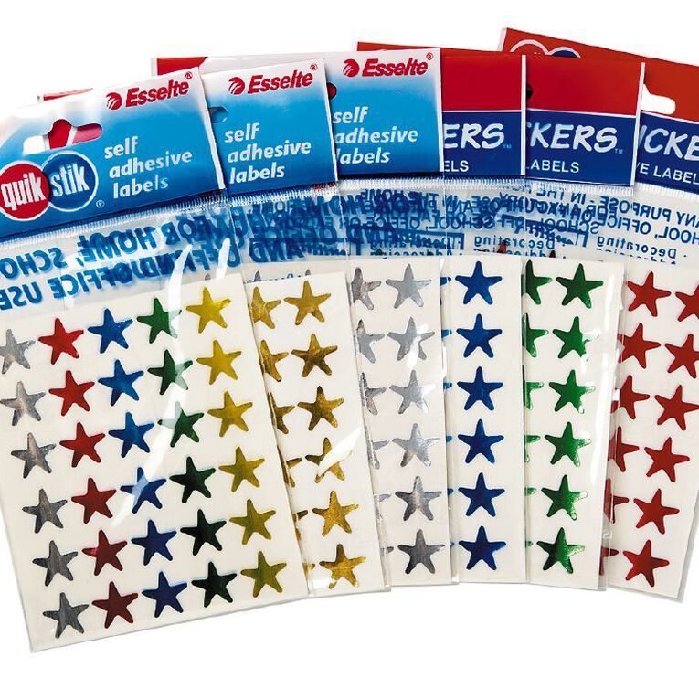 Quik Stik Labels Stickers Star Shaped Assorted, , hi-res