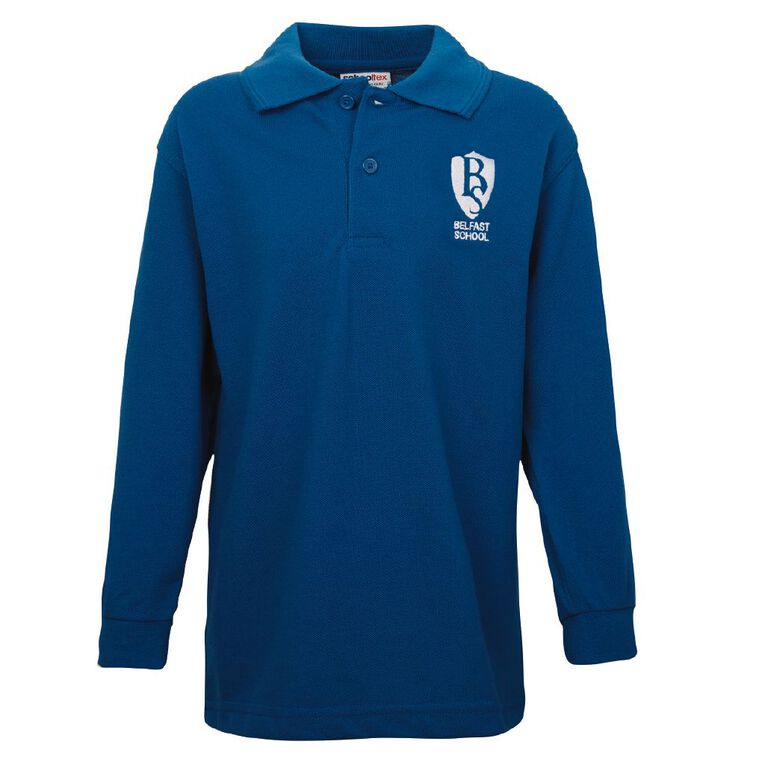 Schooltex Belfast School Long Sleeve Polo with Embroidery, Royal, hi-res