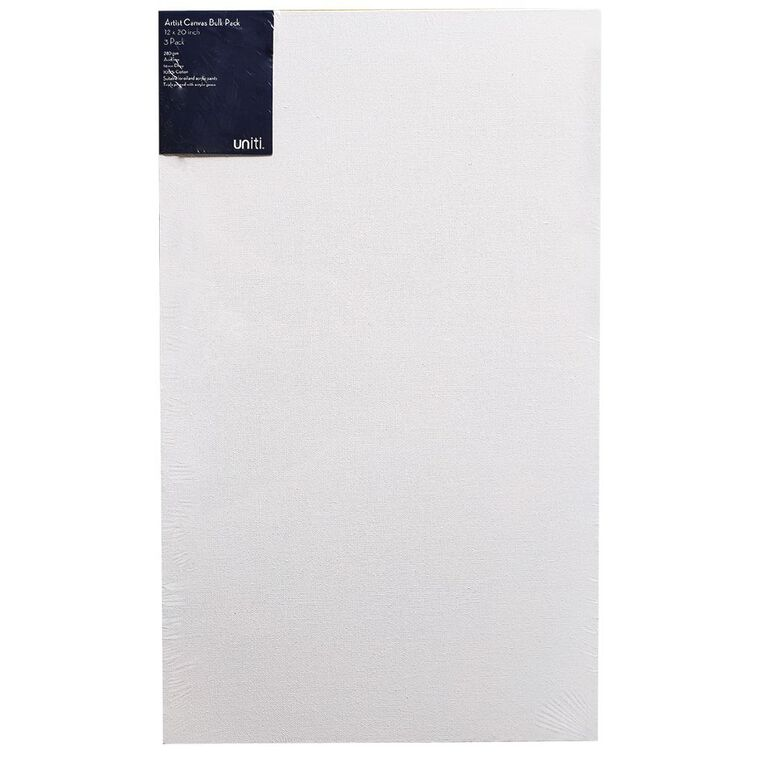 Uniti Blank Canvas 280gsm 20in x 12in 3 Pack, , hi-res