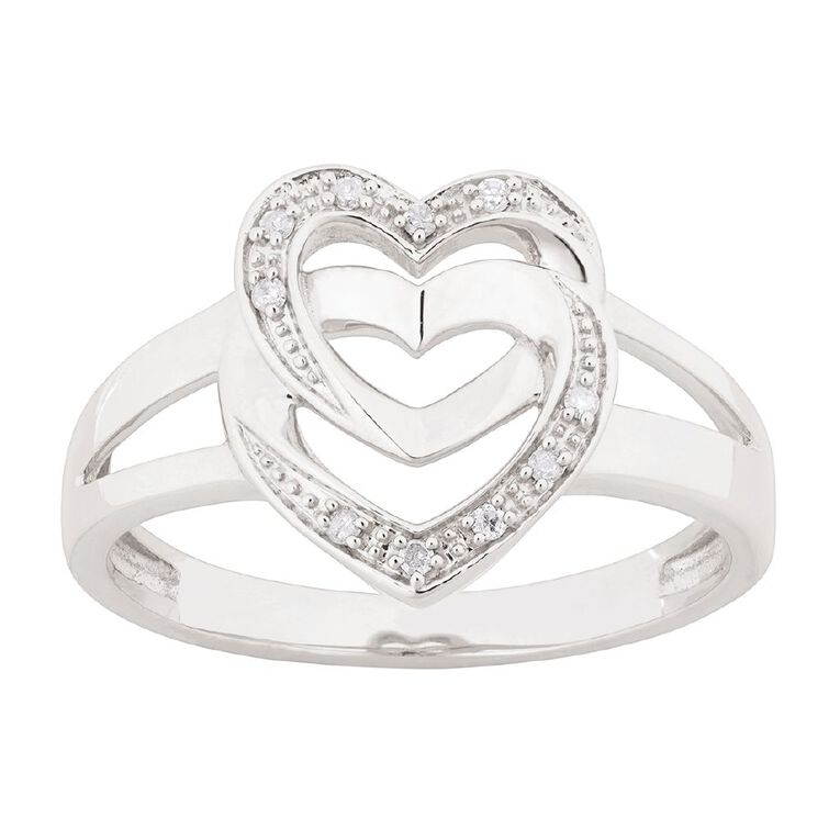 0.05 Carat Diamond Sterling Silver Double Heart Ring, Sterling Silver, hi-res