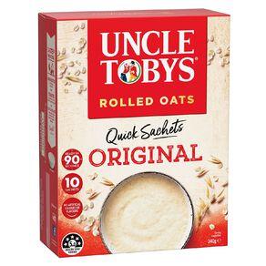 Uncle Tobys Quick Oats Sachet Original 10 Pack 340g