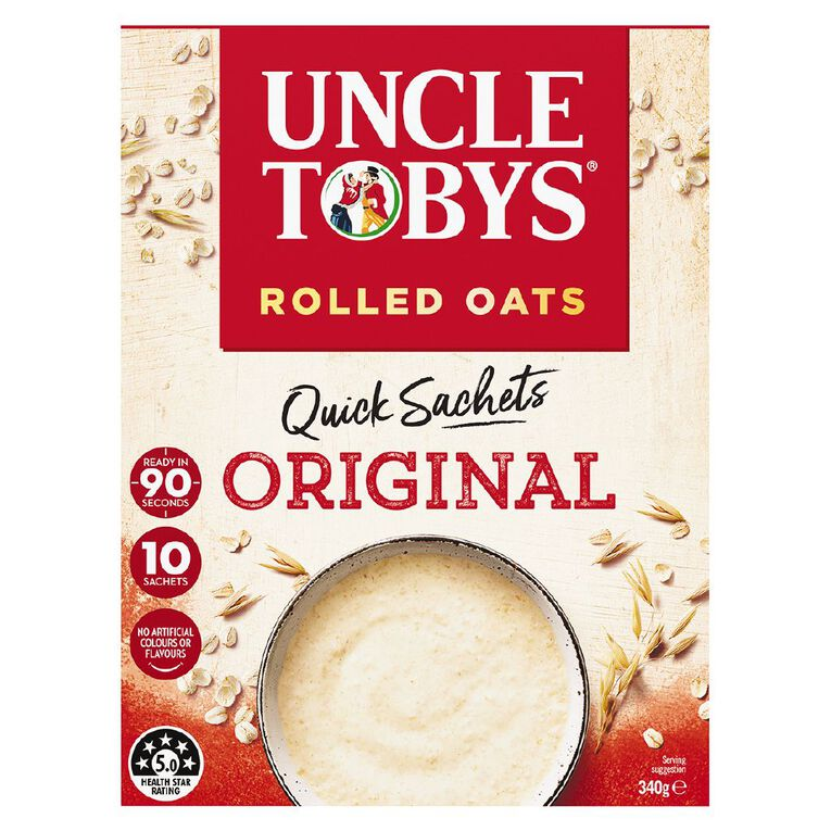 Uncle Tobys Quick Oats Sachet Original 10 Pack 340g, , hi-res