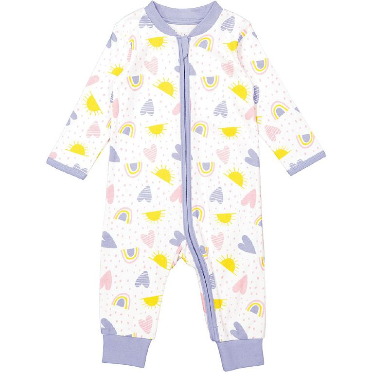 Young Original Baby Footless All In One, White, hi-res
